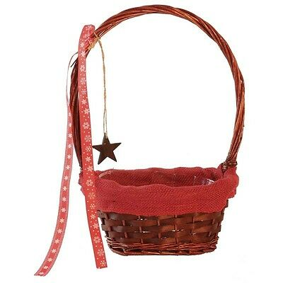 Oval with Red Hessian Rim Snowflake / Star Christmas Gift Flower Basket
