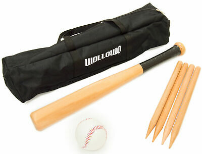 Wollowo Outdoor Wooden Rounders Game Set Bat Ball Base Posts/Stumps