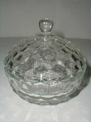 Indiana Glass Clear AMERICAN Cube WHITEHALL Candy Dish w Lid