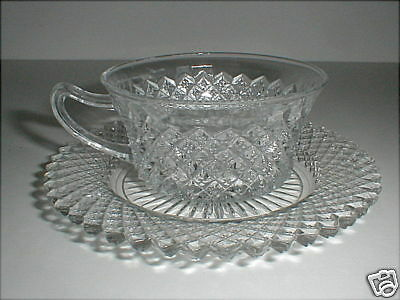 Hocking Depression Glass Clear MISS AMERICA Cup Saucer/s