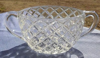 Anchor Hocking Clear WATERFORD Waffle Depression Glass Open Sugar Bowl