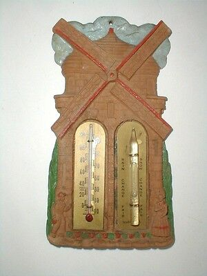 Swiss Holland Dutch Girl Boy Windmill Wooden Thermometer Weather Gauge 1940 (eth