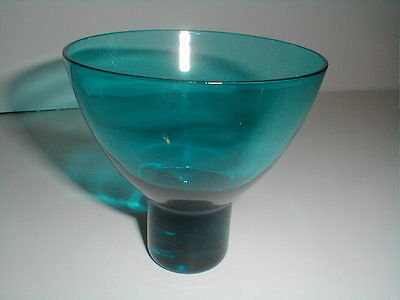 Morgantown Glass Teal  Mid Century Modern Footed Bowl (loc-bas)