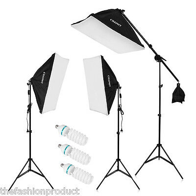 "2000W Fotografía Estudio 20""x25""Softbox Set Kit soporte LED Iluminación Continua"