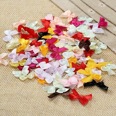 100Pcs Mini Satin Ribbon Flowers Bows Wedding Decoration Gift Craft Mix Color