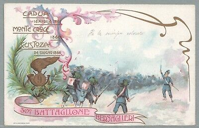 C. 1902 Italy Military Pc 30Th Sharpshooters Regiment Nice Multi-Color Post Card