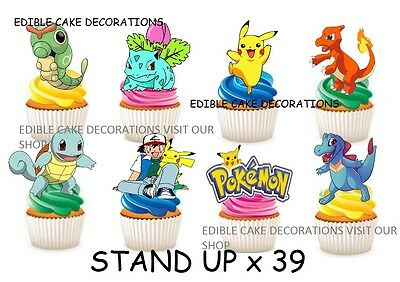 39 POKEMON STAND UP Edible Cupcake Fairy Cake Topper Edible Decorations