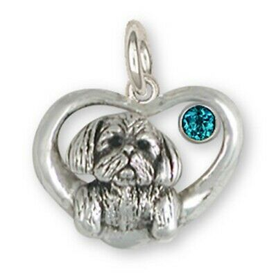 Lhasa Apso  Birthstone Charm Handmade Sterling Silver Dog Jewelry LSZ23-SC