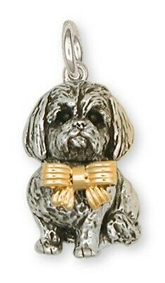 Lhasa Apso Charm Silver And 14k Gold Dog Jewelry LSZ5W-C