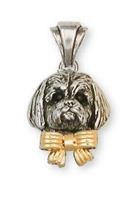 Lhasa Apso Pendant Sterling Silver And 14k Gold Dog Jewelry LSC4W-P