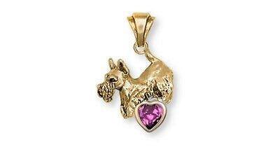 Scottie Scottish Terrier Birthstone Pendant 14k Yellow Gold Vermeil Dog Jewelry