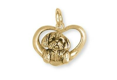 Shih Tzu Heart Dog Charm Jewelry 14K Yellow Gold Vermeil SZ23-CVM
