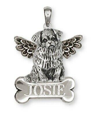 Tibetan Spaniel Angel Personalized Pendant Handmade Sterling Silver Dog Jewelry