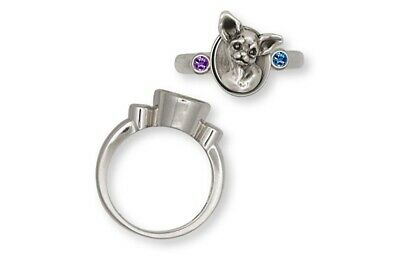 Chihuahua Ring Jewelry Sterling Silver Chihuahua Charms And Jewelry CHW7-SR