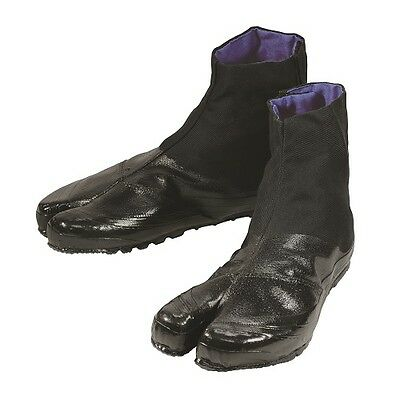 ALL BLACK- Ninja Tabi Boot / Japanese Shoes & Rubber Sole- Short 5 clasps