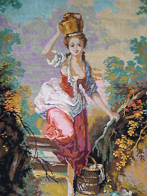 """FRENCH Vintage LARGE WOOL TAPESTRY rare SCENE 29"""" by  24"""""""