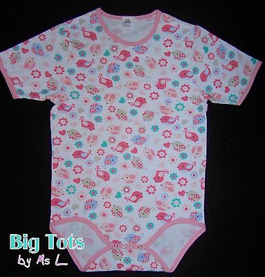 Big Tots Birdies & Flowers adult size bodysuit baby birds