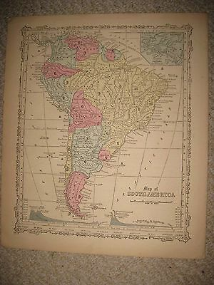 Antique 1864 West Indies Mexico Puerto Rico Jamaica Bahamas Cuba Handcolored Map