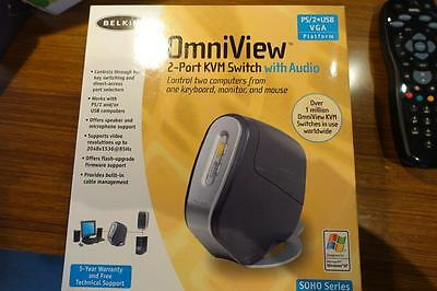 Belkin 2 Port OmniView SOHO KVM Switch PS/2 USB VGA With cables