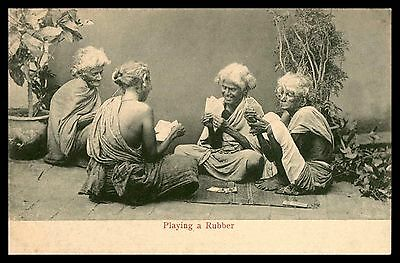 Antique Playing a rubber old Sri lanka Ceylon cards game old postcard
