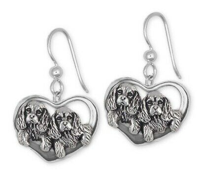 Cavalier King Charles Spaniel French Wire Earrings Jewelry Handmade Sterling Sil