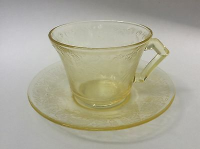 Hazel Atlas Florentine #2 Yellow Poppy Depression Glass Cup & Saucer Set s