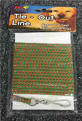 Tie Out Line For Dog's Approx 12 Feet With Swivel Clips Rope Line Outdoor Safety
