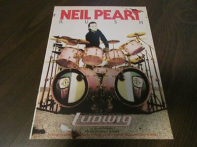 Pearl Drums - Neil Peart - Rush 1989 Magazine Print Ad