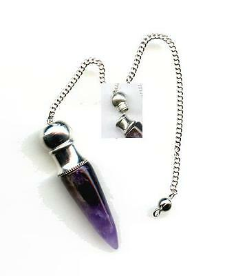 Amethyst Chambered Pendulum #3    Free Pouch Included!!
