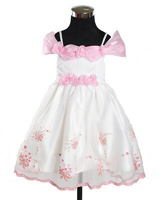 New White and Pink Party Flower Girl Pageant Dress 18-24 Months