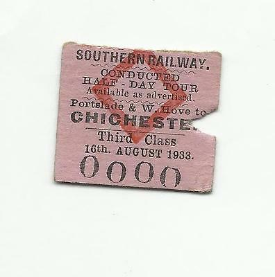 SR ticket, Portslade & West Hove to Chichester (conducted tour), 1933