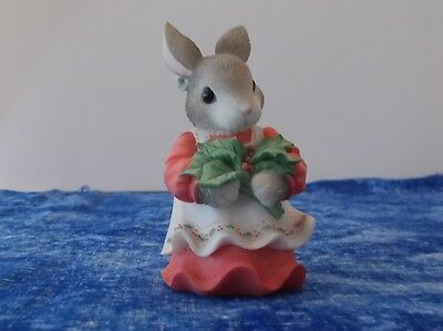 """My Blushing Bunnies """"Have A Berry Happy Holly-Day"""" Bunny Figurine from 1998"""