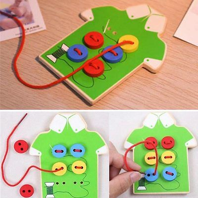 Montessori Educational Kids Child Sew Button Beads Wooden Lacing Board Toys Tool