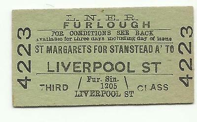 LNER ticket, St. Margarets for Stanstead Abbotts to Liverpool Street