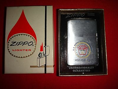 Year 1960 Zippo Lighter US NAVAL AMPHIBIOUS BASE, LITTLE CREEK VA. With Box