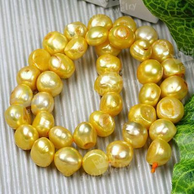 10-11Mm Cultured Freshwater Nugget Gold Pearl Beads