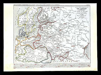 1849 Houze Map - Russia Poland Sweden Denmark Germany Prussia Austria - Europe