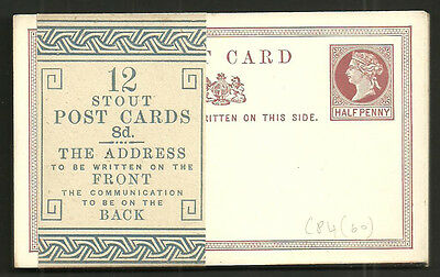 Queen Victoria 1/2D Stout Post Cards X12 With Wrapper Band Complete Cp4