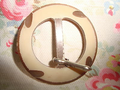 Vintage Round Brown / Fawn Plastic Buckle