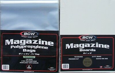 (100) Bcw Resealable Magazine Bags & Backing Boards - Priority Shipping