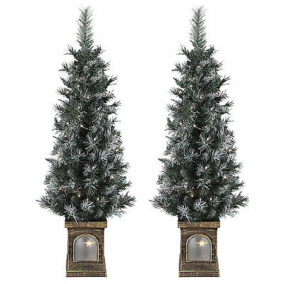 Set Of 2 Pre-Lit 4ft (120cm) Frosted Christmas Xmas Pathway Garden Outdoor Trees