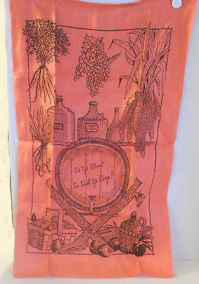 Vintage CORAL Pink  Black LINEN Towel Harvest Motif AS YE PLANT SO SHALL YE REAP
