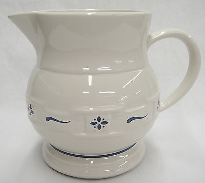 "Longaberger Blue Woven Traditions 64 oz Pitcher 7.5"" Excellent Made in USA"