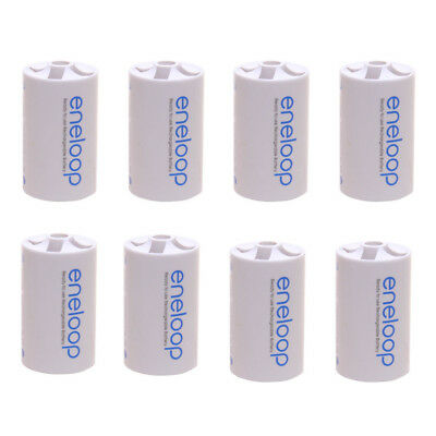 8PCS Sanyo Eneloop Battery Adaptor Converter AA R6 to D R20 D-Size