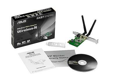 Asus PCE-N15 N300 Wireless WiFi Network Card Adapter 300Mbps PCI Express 2.4GHz