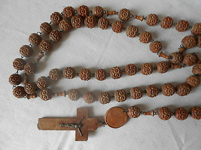 ANTIQUE french MONK Rosary BROWN Beads  wood Plaque Crucifix marked