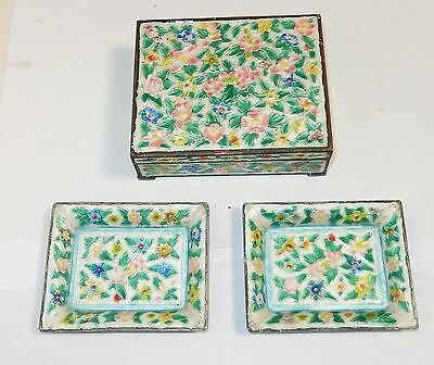 Old Chinese Repousse Cloisonne Enamel Humidor Jar Box And Trays Set