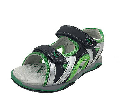 Boys Youth Shoes Grosby Eric Black/Green Size 11-3 Surf Sandals Hook And Loop