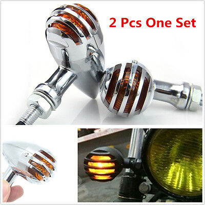 2 Pcs DC12V Amber LED Bullet Motorcycles Finned Grille Turning Signal Lights DRL