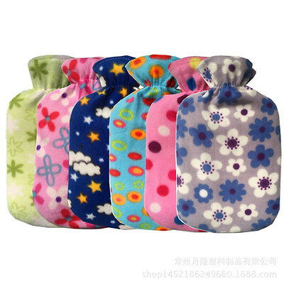 Random Durable Water Bag Flannel Cloth Cover Heat Anti-scald Washable Keep Warm